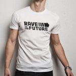 Rave to the future férfi póló fehér
