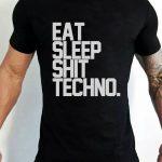 eat sleep shit techno férfi póló fekete