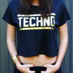 TECHNO crop top fekete arany