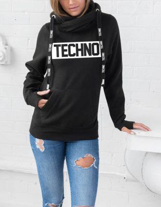 Techno kapucnis női pulóver pulcsi
