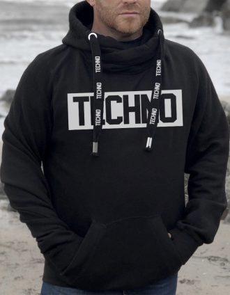 Techno kapucnis férfi pulóver pulcsi fekete