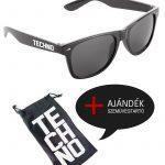 Techno napszemüveg fekete + ajándék napszemüvegtartó zsák
